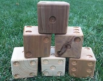 6 premium unpainted cedar yard dice for Yardzee and Farkle