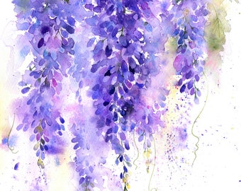 Wisteria in Watercolour painting project