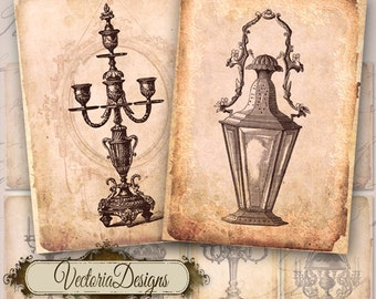 Vintage Candles ATC digital background instant download printable images collage sheet VD0055