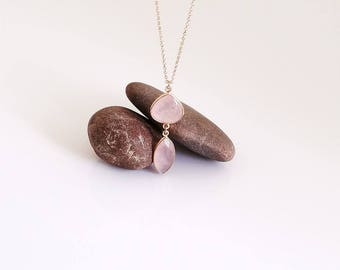 Rose Quartz Necklace, Rose Gold Necklace, Two Bezel, Faceted Rose Quartz Pendent, Light Pink Stone Pendant, Dainty, Delicate Necklace.