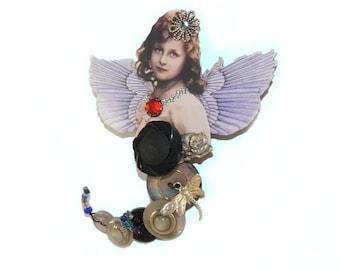 """Wearable Art Pin, Button Art Doll Brooch """"Aviana"""", OOAK Unique Gift"""