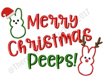Christmas embroidery design, Merry Christmas Peeps embroidery design, peeps embroidery deisgn, santa hat antlers embroidery design