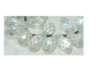 set of 2 clear faceted teardrop Crystal 20 mm