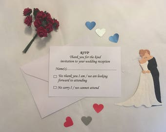 10 Wedding / Reception RSVP Cards and Envelopes