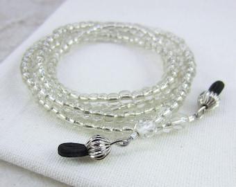 Silvery Eyeglass Chain, Beaded Eyeglass Necklace, Neutral Eyeglass Lanyard, Stylish Eyeglass Holder, Gift for Mom or Grandma