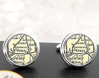 Map Cufflinks Lafayette LA Cuff Links State of Louisiana Cufflinks for Groomsmen Wedding Party Fathers Dads Men
