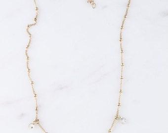 CZ Dangle Choker, Gold Filled or Sterling Silver CZ Diamond Dangle Choker Necklace, Shaker Necklace, Gold Choker, Diamond Choker, Choker