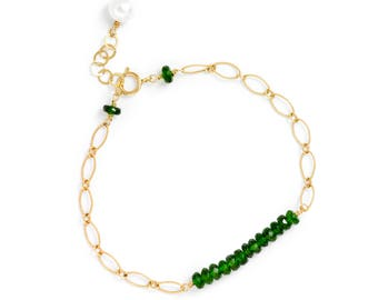 Chrome Diopside Gemstone Bar Bracelet in 14k GF, Green Stone Bracelet, Chrome Diopside Bracelet