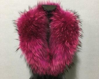 Natural Strong Pink-Ash Fox Fur Collar