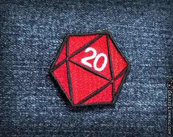 Iron-On D20 Dice Patch - Embroidered