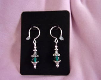 Pewter and glass dangle earrings on sterling silver french wires