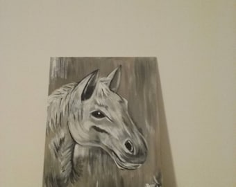White Horse Hand Painted