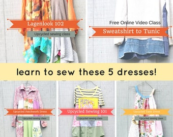 Sewing Classes, Upcycled Sewing, Refashion, Reclaimed, Repurposed, Sew, Online Class, Boho, Sewing 102, Tutorials, Patterns, CreoleSha