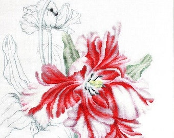 Red tulips SB2241 - Cross Stitch Kit by Luca-s