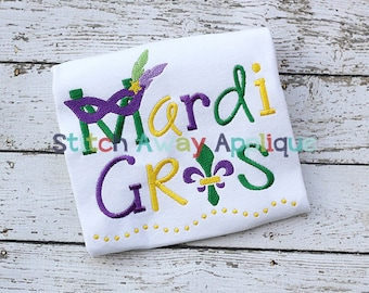 Mardi Gras Fleur de Lis Saying Machine Embroidery Design