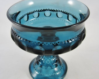 Kings Crown Indiana Glass, Blue Carnival Glass, Pedestal Compote, Pattern #77