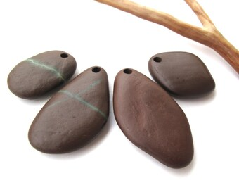 Rock Pendants Top Drilled Beach Stones Mediterranean River Stone Beads Natural Stone Beads DIY Jewelry Findings COOL PENDANTS 25-40 mm