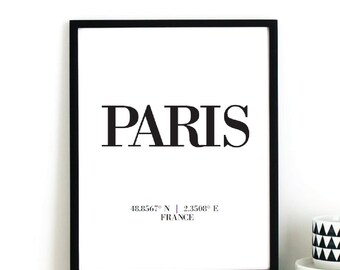 PARIS Longitude Latitude Fashion Illustration Digital Instant Printable Art Print by  Basemint Liselle Fernandes