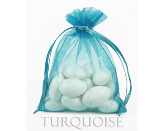 30 Turquoise Organza Bags, 3 x 4 Inch Sheer Fabric Favor Bags, For Wedding Favors, Jewelry Pouches