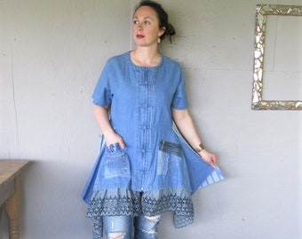 upcycled denim tunic dress recycled clothing Bohemian summer shirt top X Large Boho wearable art sustainable reclaimed LillieNoraDryGoods