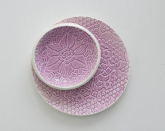 lilac violet lace ceramic saucer for sweets