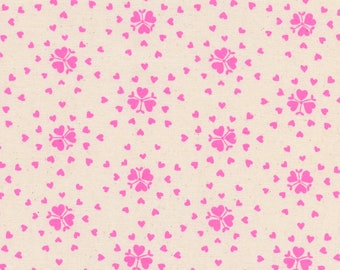 Heartburst in Neon Pink Pigment - Yours Truly Fabric by Kimberly Kight for Cotton + Steel