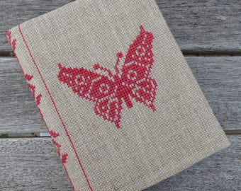 Cross Stitch A6 Journal & Cover - Red Butterfly