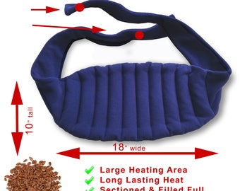 Microwavable Extra Long (76 inches long straps) Lower Back Heating Wrap With Straps, Shoulder Joint Pain,  Navy Blue Fleece, Spot Clean