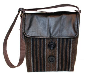 Crossbody Handbag, 'Brown Wool Stripe'  Repurposed Wool and Leather Purse - Eco-Friendly Fashion