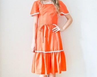 "Vintage 70s ""Orangina Belle"" ruffle dress Size XS-  Small"