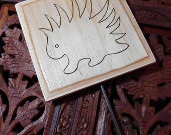 "5"" Porcupine Coat Hook - Pyrography Art, Wood Art, Porcupine, Coat Hanger, Hat Hook, Free State Project"