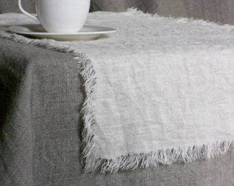 Ivory rustic runner, prewashed frayed natural linen burlap table runner in farmhouse shabby chic style