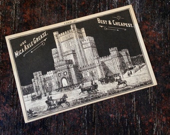 1880's Mica Axle Grease Trade Card - St. Paul Ice Palace Scene From Winter Of 1886