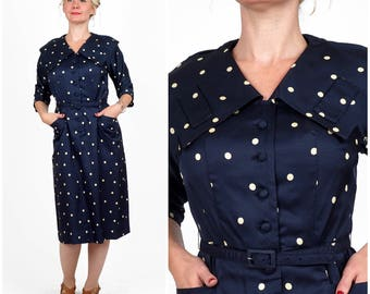 Vintage 50's/60's Blue and White Polka Dot Spotted Wiggle Dress with Wide Collar by Forever Young | Medium