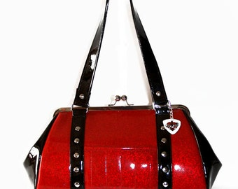 Ruby Red Sparkle Vinyl Purse with Black Gloss Vinyl Trim- MADE TO ORDER