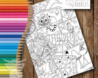 Alice inspired Colouring sheet