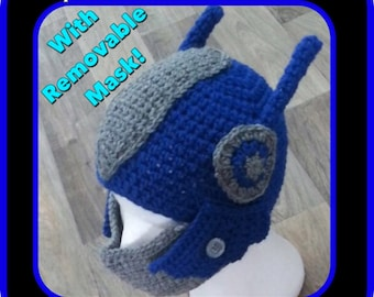 Optimus Prime Transformers inspired beanie. Children's - Adults. Hand Crocheted.