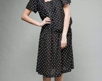 polka dot dress, black white dress, sailor collar dress, drop waist dress, vintage 80s XL plus size 1X