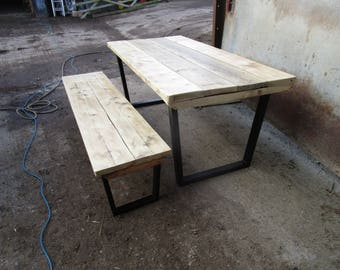 Reclaimed wood metal base dining table, custome made in the UK, reclaimed wood, shabby chic