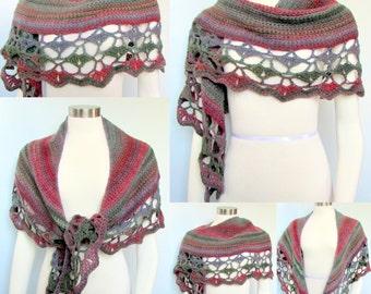 Pattern only - Amazing Rainbow Crescent Shawl pattern crochet pattern shawlette scarf