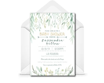 Boho Baby Shower Invitation - Bohemian - Feathers and Arrows - Green and Gold -  Digital File