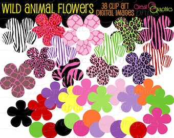 Animal Print Digital Clip Art Flower Clipart Printable Flower Digital Clipart Animal Print Clipart Instant Download