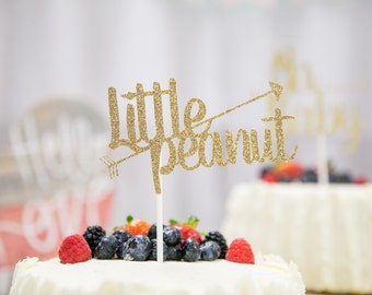Little Peanut Baby Shower Glitter Cake Topper, Baby Shower Cake Topper