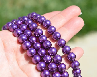 40 Purple Glass Pearl Beads 10mm BD355