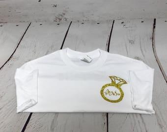 Honeymoon Shirt, Diamond Ring, Mrs Shirt, Bride shirt, Bridal Shower Gift, Women's Clothing, Tops and Tees, clothing, T-shirts, gift for her