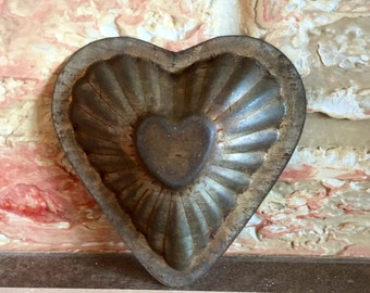 Antique Metal Heart Mold Valentines Day Tin Perfect Patina for Crafting Heart Tins for Holiday Decorating Such Fun! - Have a