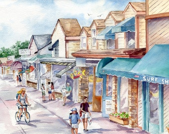 LARGE Stone Harbor 96th Street Surf Shop watercolor painting print, signed and matted