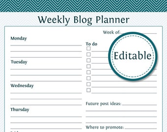 Weekly Blog Planner - Fillable - Instant Download - Printable Organizational PDF
