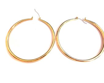 LARGE 3 inch Hoop Earrings Solid Tube Hoop Earrings Gold Plated Hoop Earrings