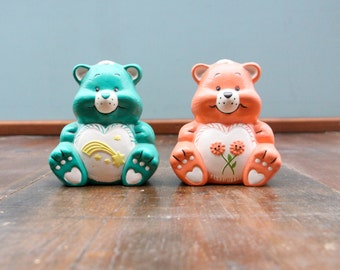 Care Bears Care! (A Set of 2 blue and pink vintage plaster CareBears figurines)